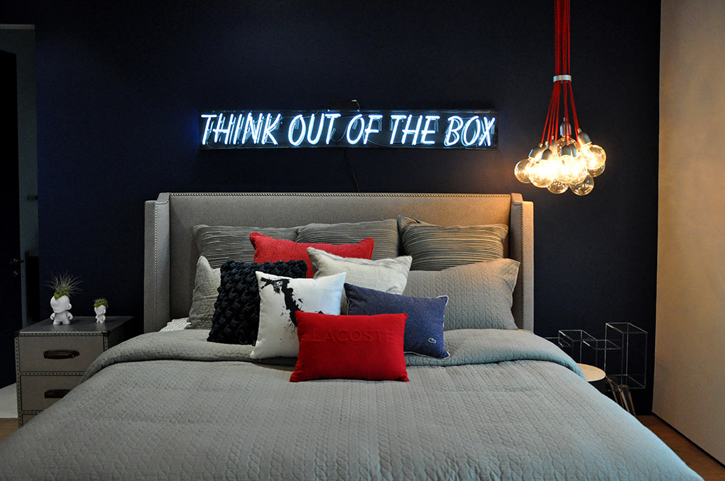 Dramatic Dark Walls With Neon Lights Boys Bedroom Painting Ideas