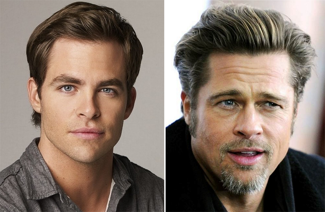 Brad Pitt and Chris Pine hairline comparison.