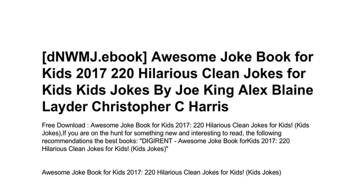 awesome-joke-book-for-kids-2017-220-hilarious-clean-jokes-for-kids