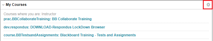 Image of my courses section and the gear icon is highlighted