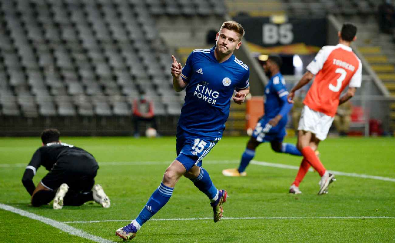 Harvey Barnes of Leicester City celebrates after scoring a goal - Photo by Octavio Passos/Getty Images