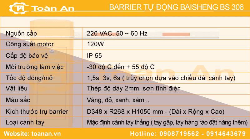 Bảng thông số kỹ thuật barrier tự động baisheng bs 306