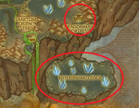 Netherwing eggs can be found in these areas