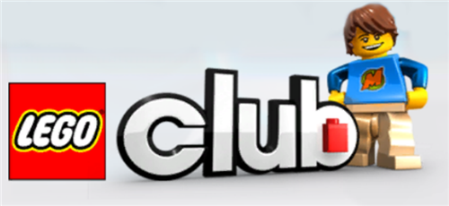 Lego Club banner with blue lego figurine standing next to it