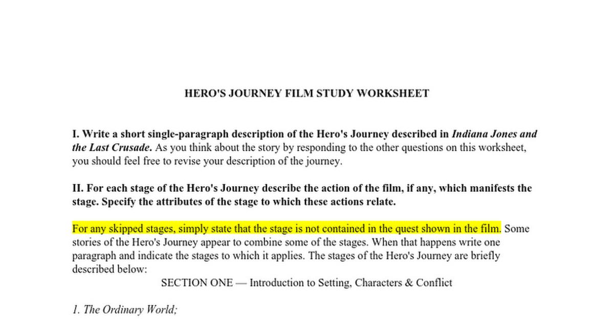 HEROS JOURNEY FILM STUDY WORKSHEET Google Docs – Film Study Worksheet