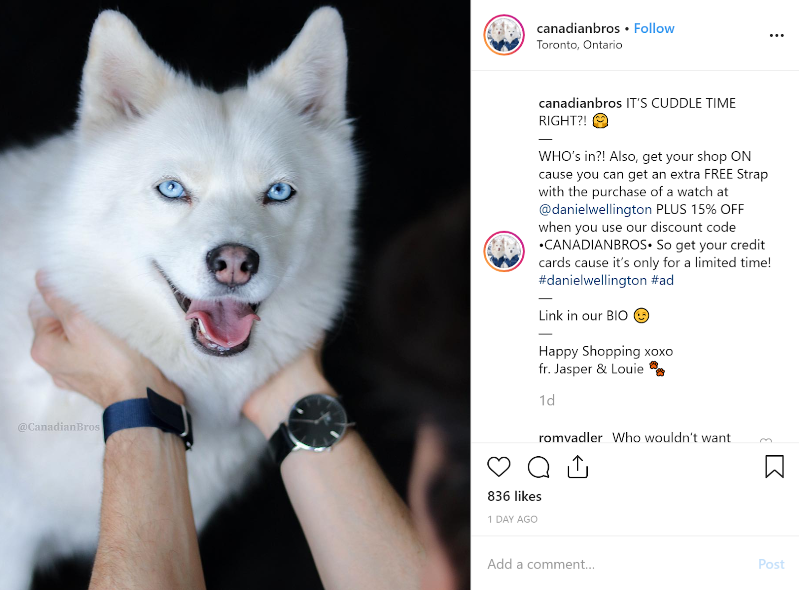 Daniel Wellington Collab with Canadianbros | Instagram Influencer Post