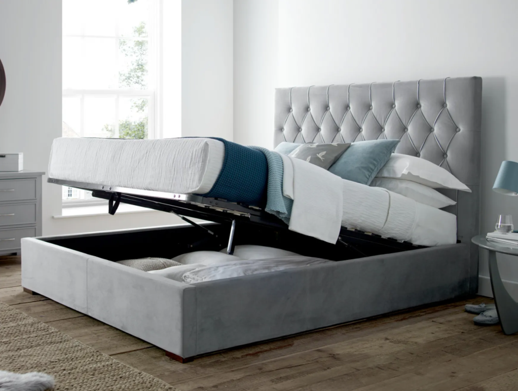 The savoy upholstered bed in grey with lift up storage