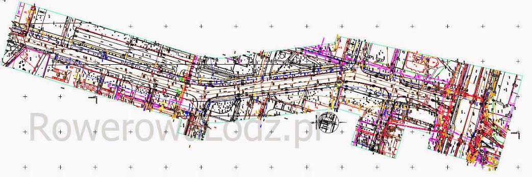 Mapa stanu zastanego, na którym projektant ma nanieść nowości w tym drogę dla rowerów