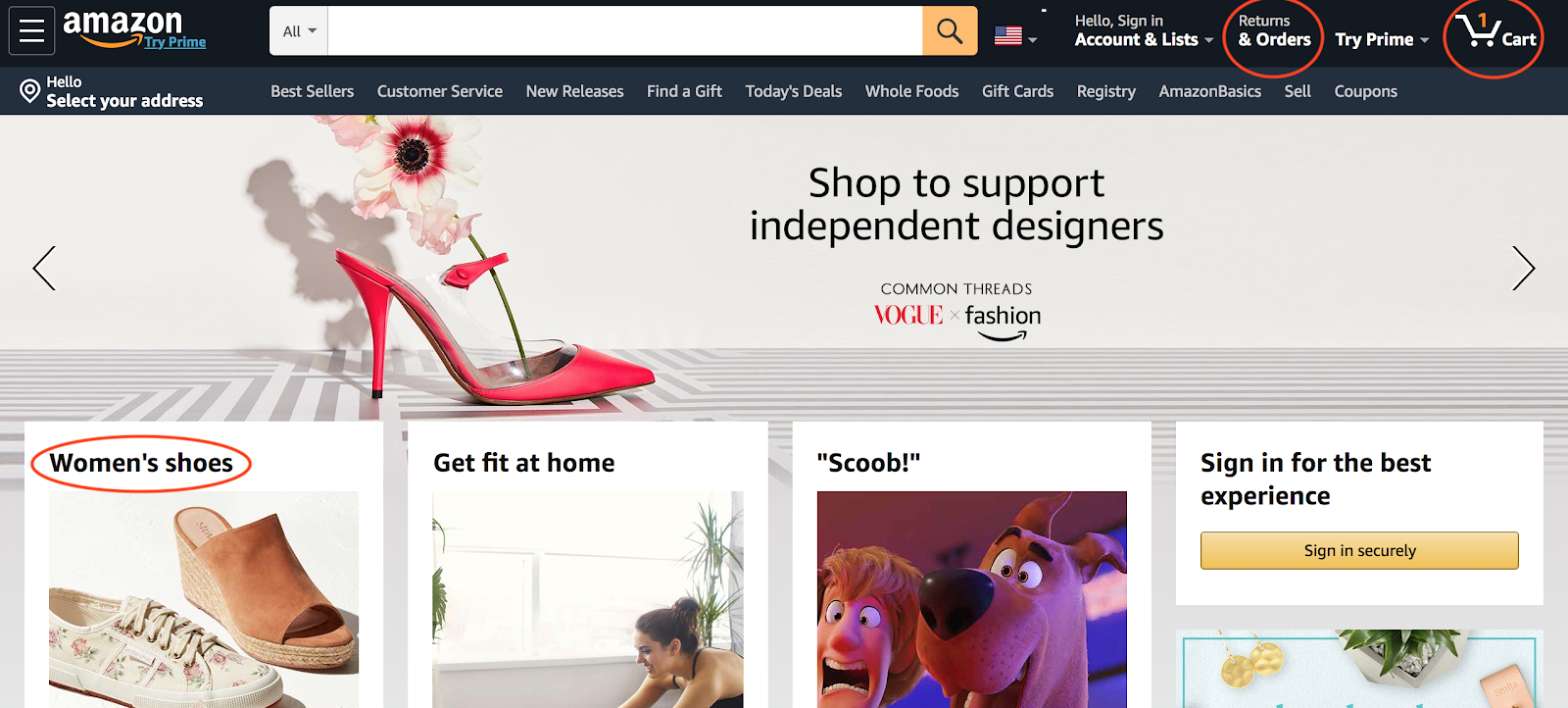 Screenshot of Amazon's homepage that shows the effective and clear design of their online store.