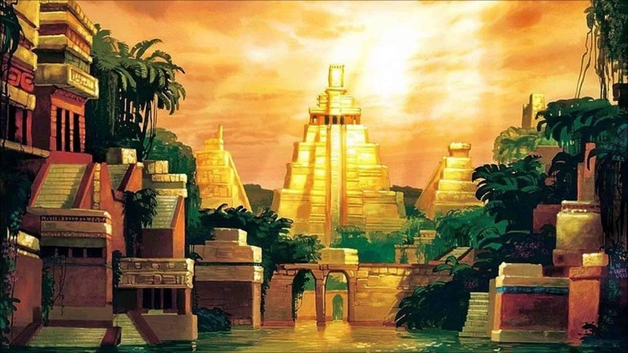 Na imagem: ilustração da Disney da cidade mítica de El Dorado, com pirâmides douradas ao fundo, iluminadas pelo sol, e plantas tropicais verdes se erguendo entre elas.