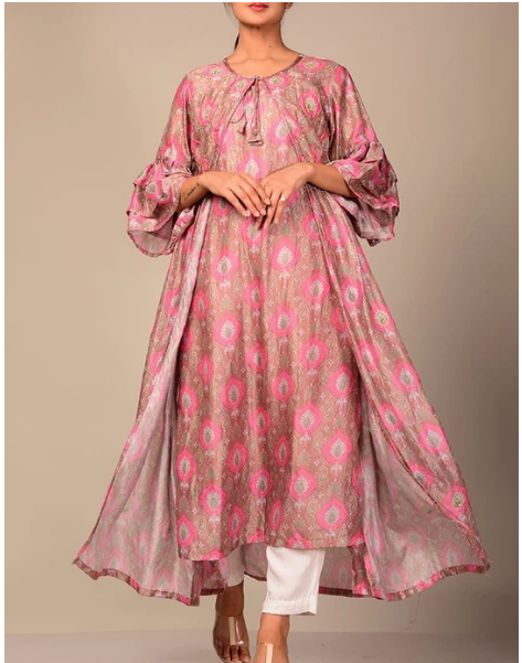 Light Pink Printed Kurti For Women
