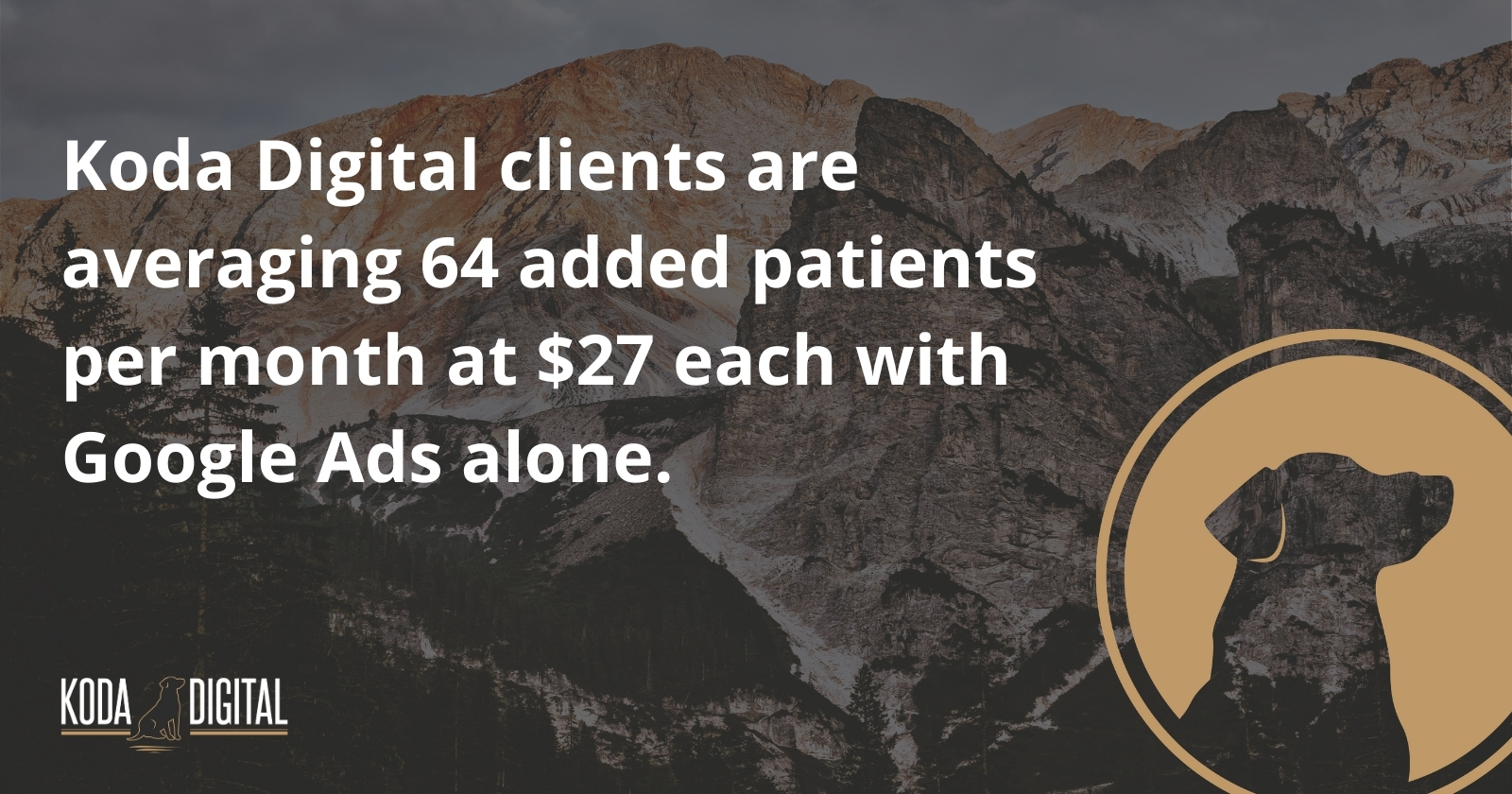 Image of Koda Digital information about the average number of added Koda Digital client patients per month and average cost of each patients with the use of Google Ads alone
