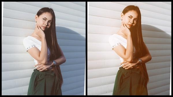 antes e depois da foto de uma mulher morena sendo que uma está mais iluminada que a outra