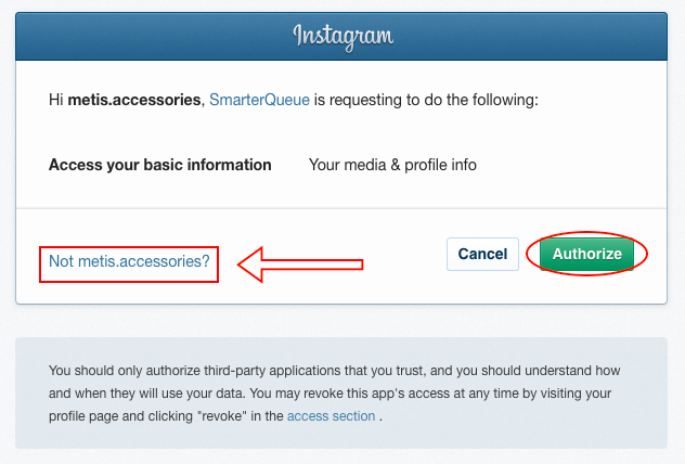 SmarterQueue add Instagram account