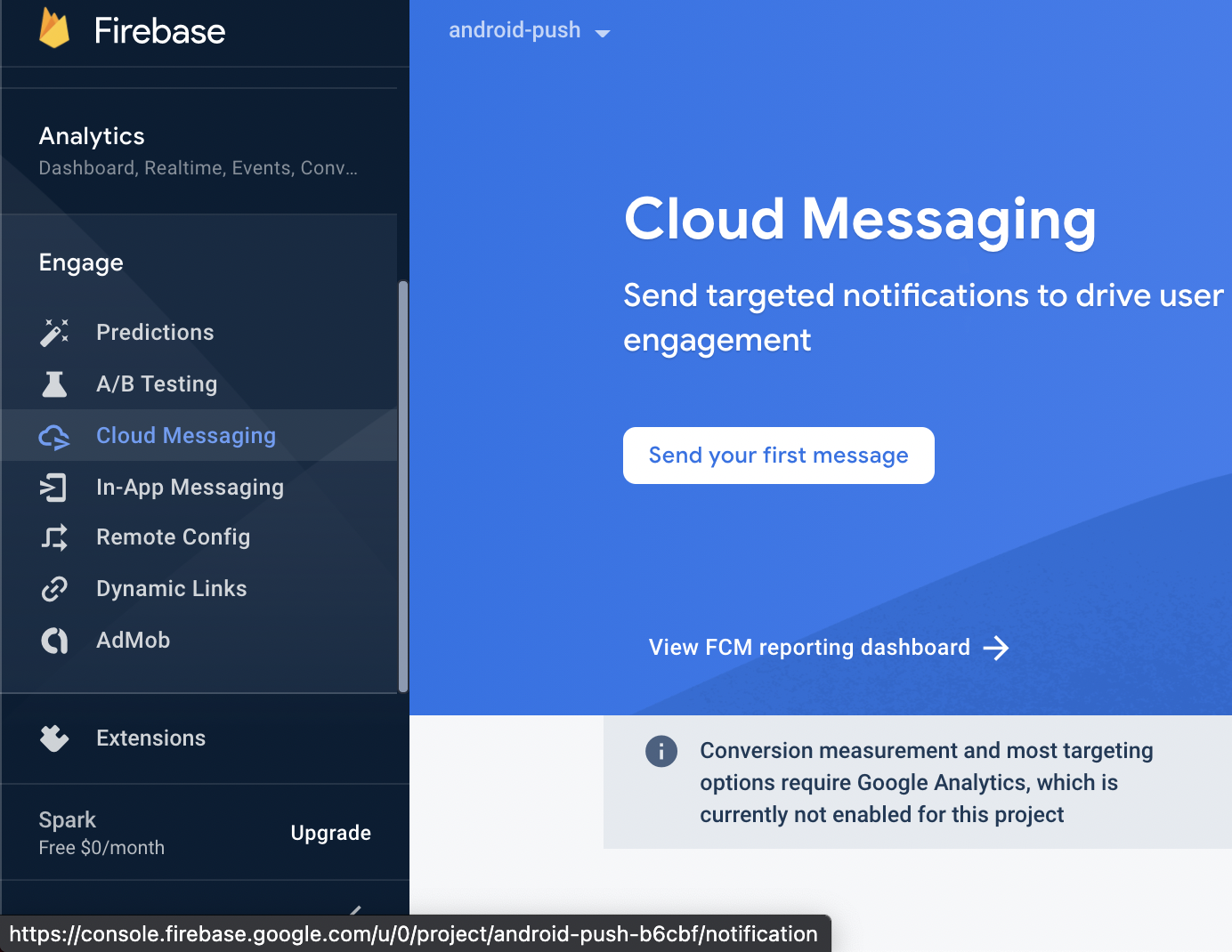 Send your first push notification
