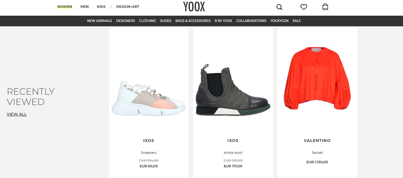 """Screenshot of """"Recently Viewed"""" items, an online visual merchandising technique, on Yoox, an online fashion retailer,"""