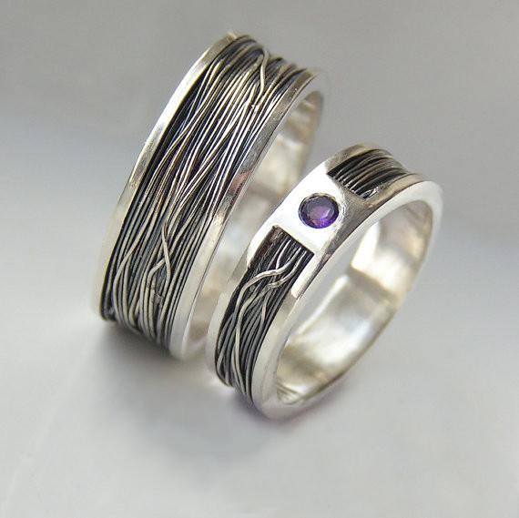 Обручальные кольца с аметистом