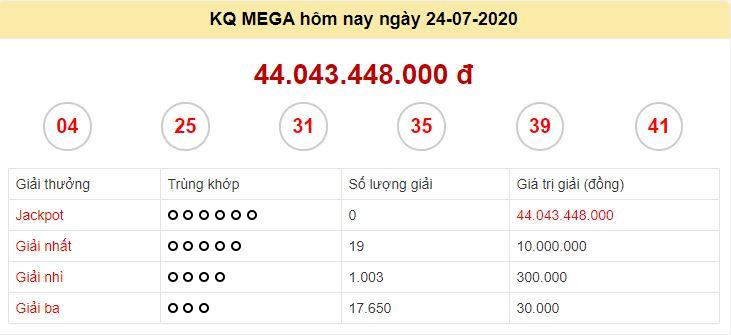 Kết quả xổ số Vietlott mega 6 45 ngày quay số 24/7/2020