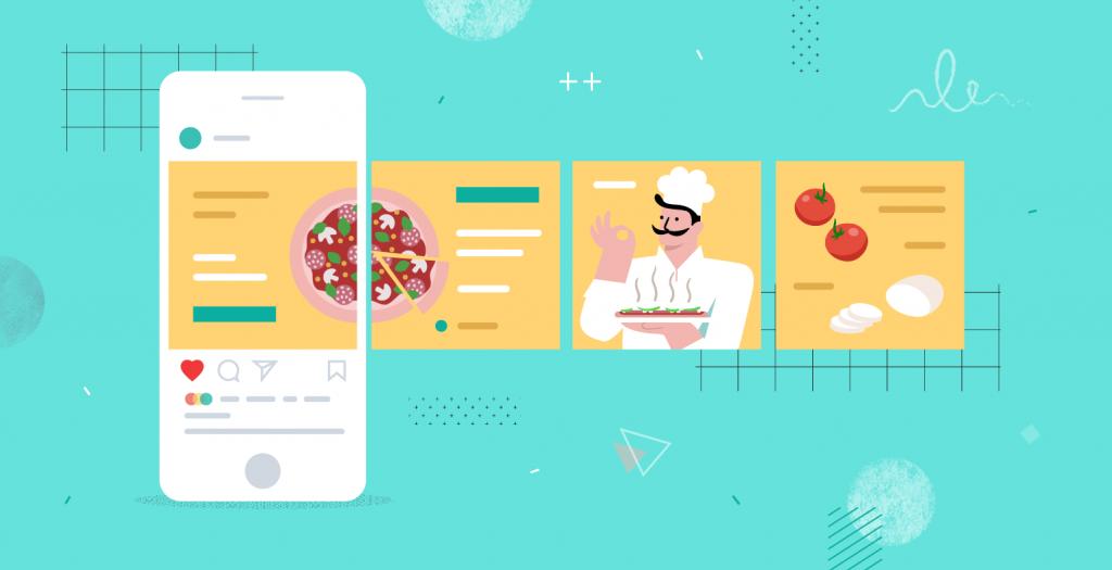Posts tipo carrossel sã muito usados para passar um volume maior de informação textual e visual. Sao um dos tipos de posts para Instagram mais populares.
