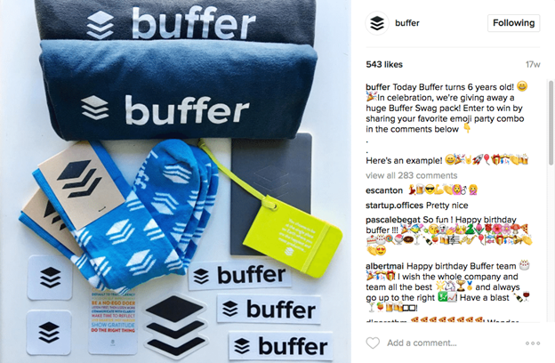 Buffer Instagram contest for more comments