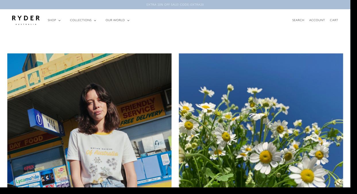 Ryder website screenshot Australian apparel brand for women Ecommerce Website Designs