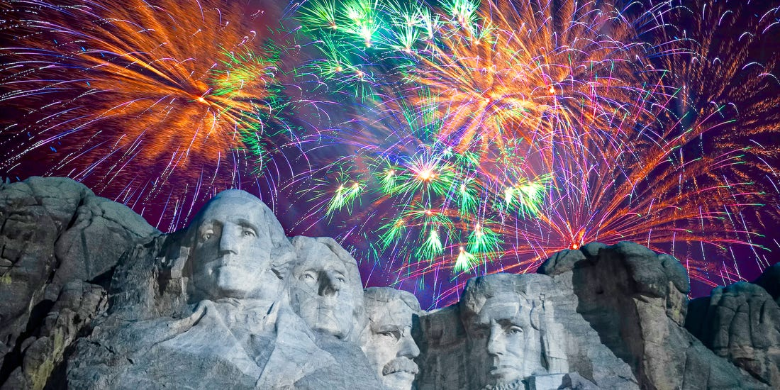 Photos of 'THE BIG FIREWORKS' at Mount Rushmore over the years ...