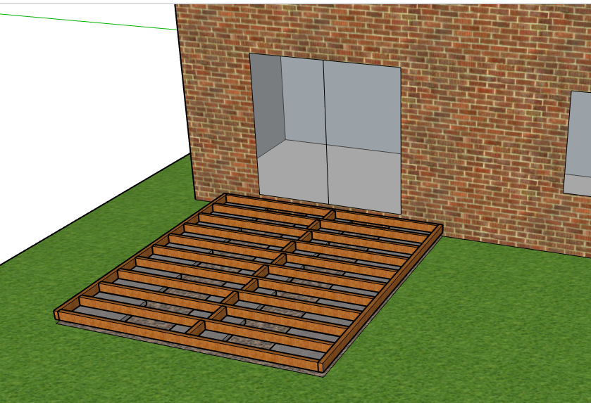 An example of how the base of decking can be constructed using concrete slabs and a low profile timber frame.