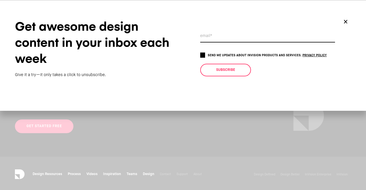 invision's website has a clear call to action