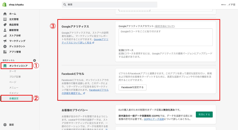 Shopifyにはデフォルト機能で、GoogleアナリティクスとFacebookピクセルのコード設置場所が存在します。そのためコード編集をすることなく、Shopifyの管理画面から簡単にGoogle広告とFacebook広告に必要なタグを設置することができます。