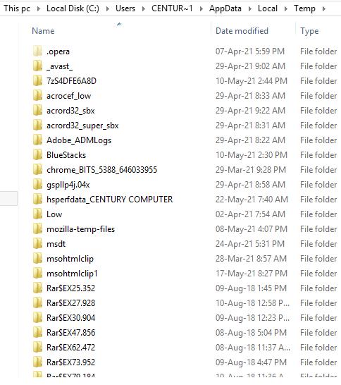 delete temporary files from temp folder