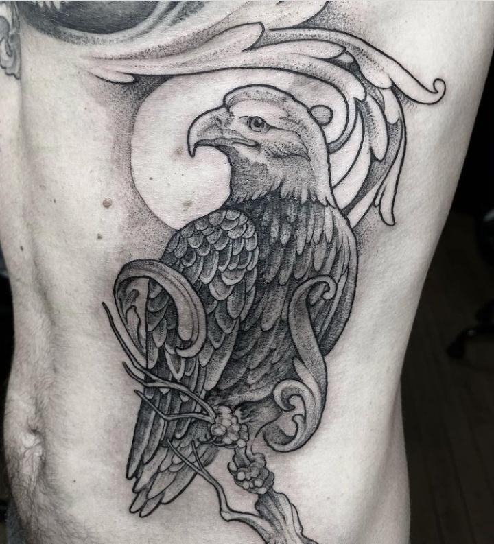 Stomach & Rib Filigree Tattoos