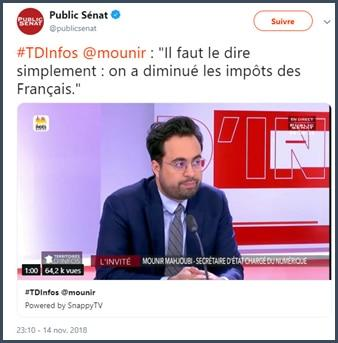 Mounir Mahjoubi diminué impots des Francais