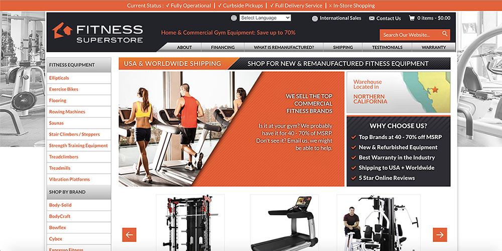 Fitness Superstore Website Screenshot