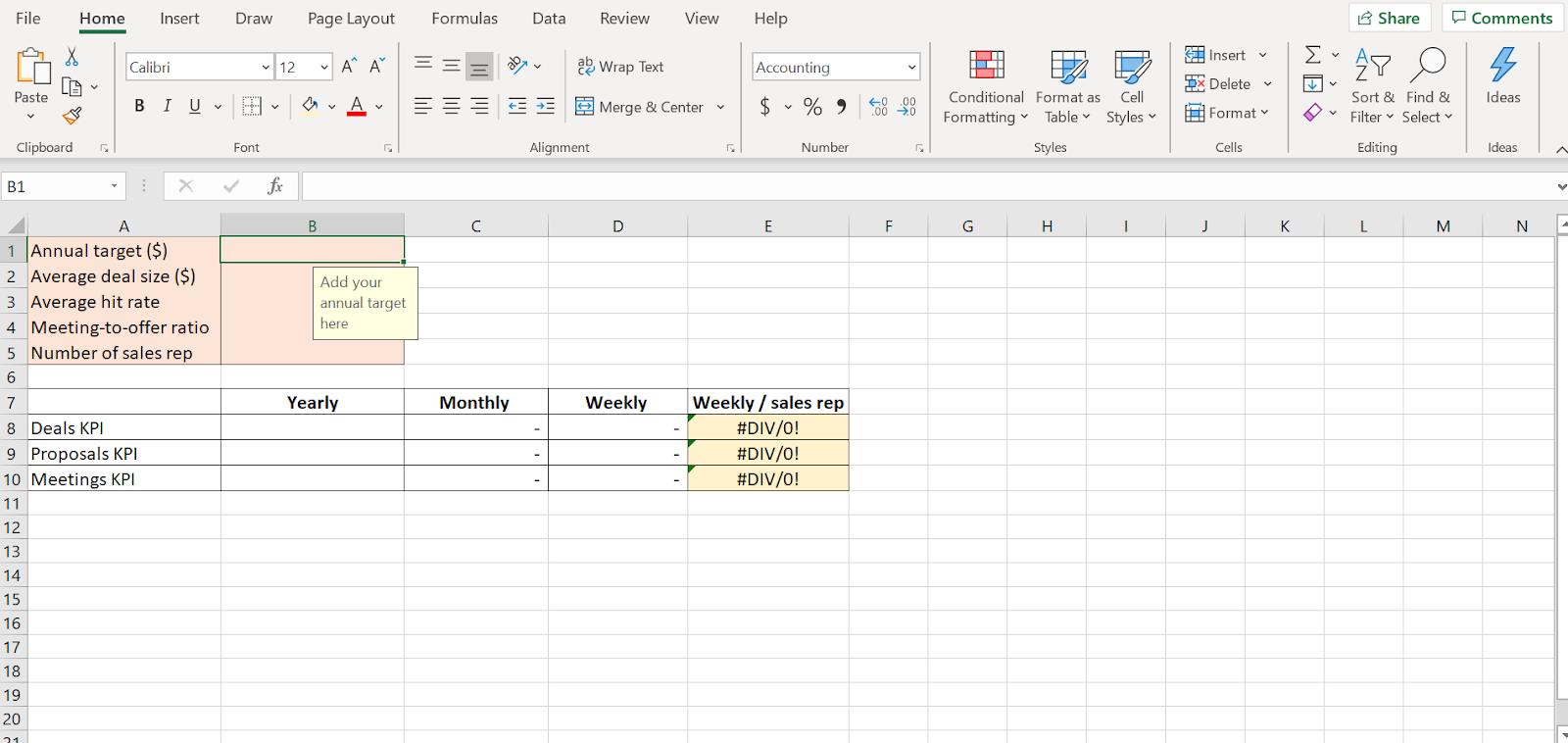 sales kpis spreadsheet