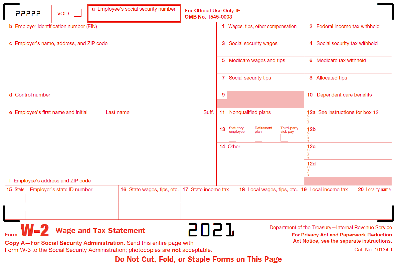 Photo of a blank form W-2.