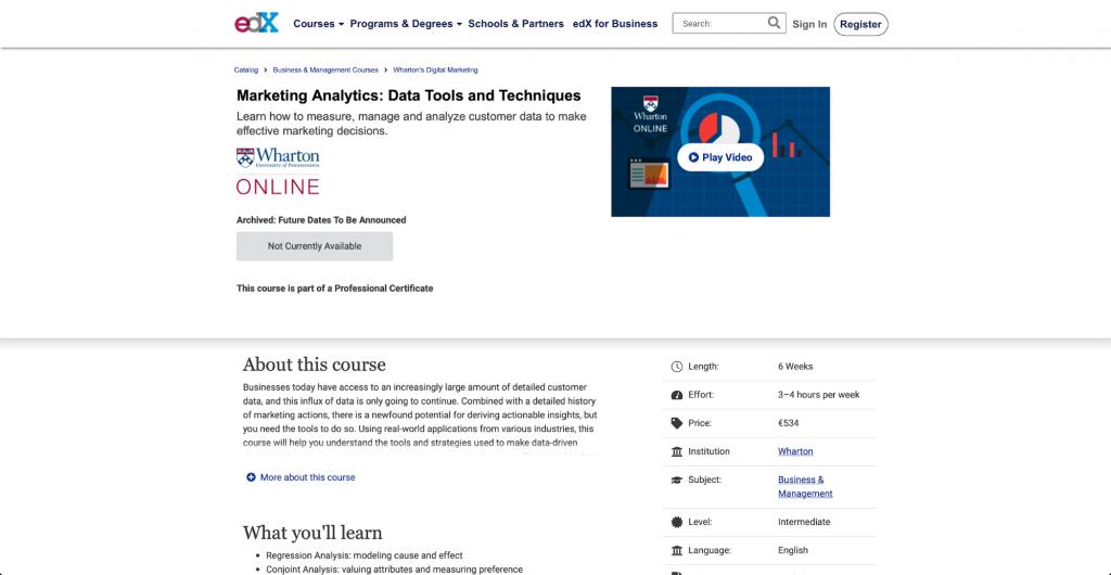 Marketing-Analytik: Daten-Tools und Techniken – Wharton University of Pennsylvania