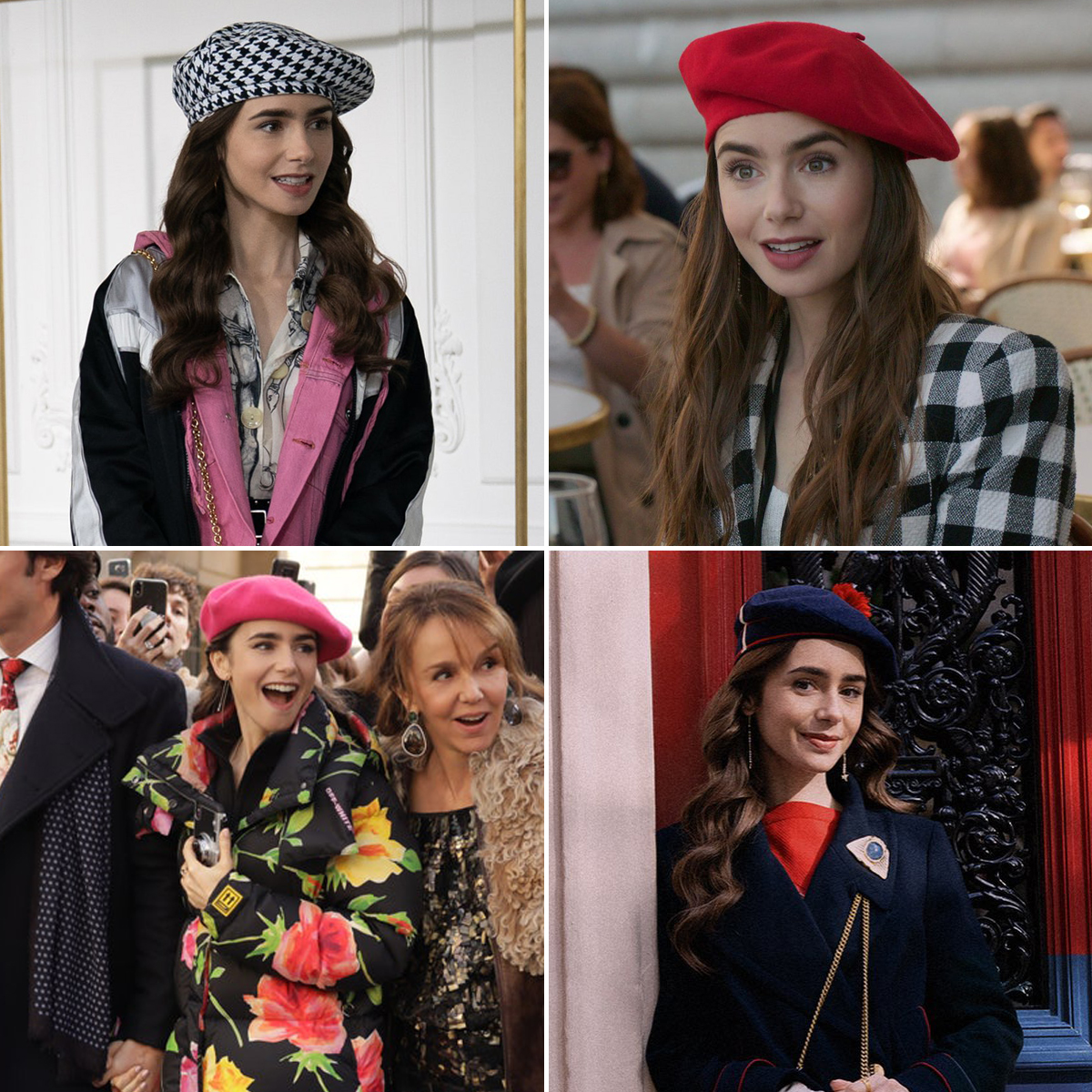 lily collins diện mũ beret trong emily in paris netflix