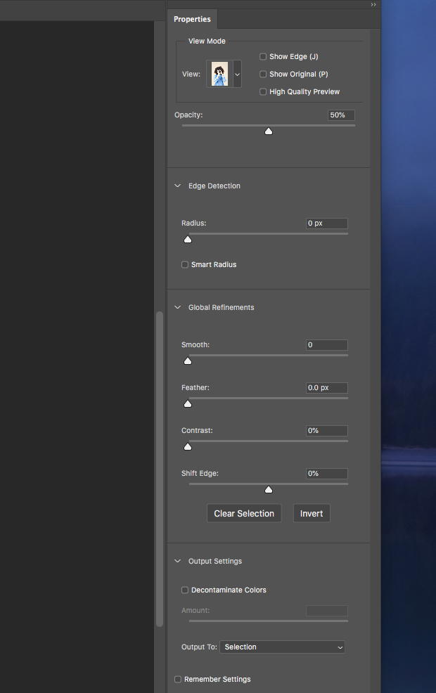 Properties tab in Photoshop