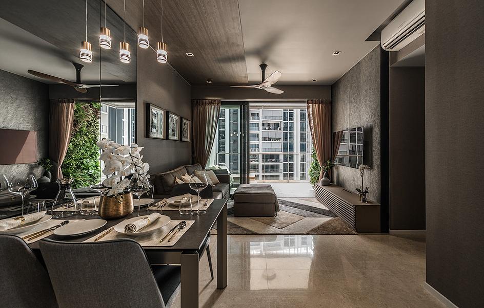 Thiết kế nội thất chung cư với gam màu tối
