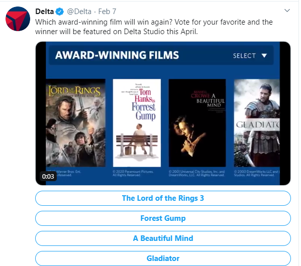 Social media post idea – Delta Airlines runs a poll on Twitter