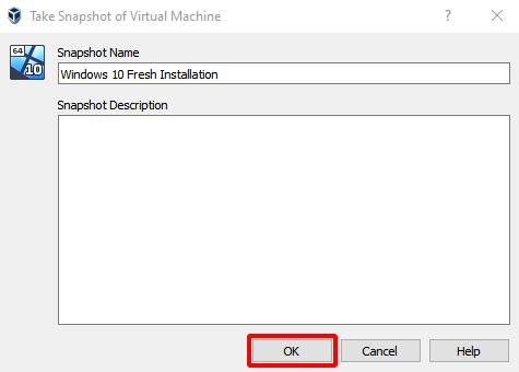 Virtual Hacking Lab - Name the Windows 10 snapshot. Source: nudesystems.com