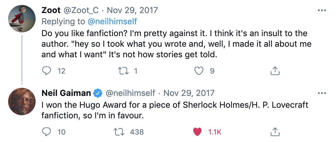 Twitter convo about fanfiction with Neil Gaiman