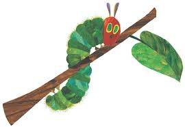 Cartoon image of caterpillar climbing on tree limb