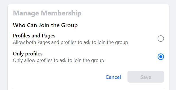 When a user is setting up a Facebook Group, one of the settings an Admin is faced with is whether they want to allow pages to join
