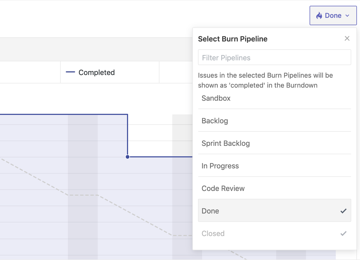 Burn pipelines used as filters within a burndown chart in ZenHub