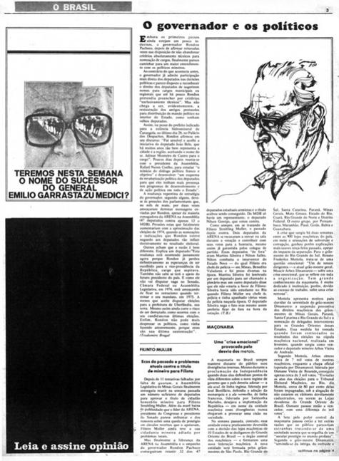 """A Tarja preta substitui a notícia em """"Opinião"""", demonstrando a censura sofrida."""