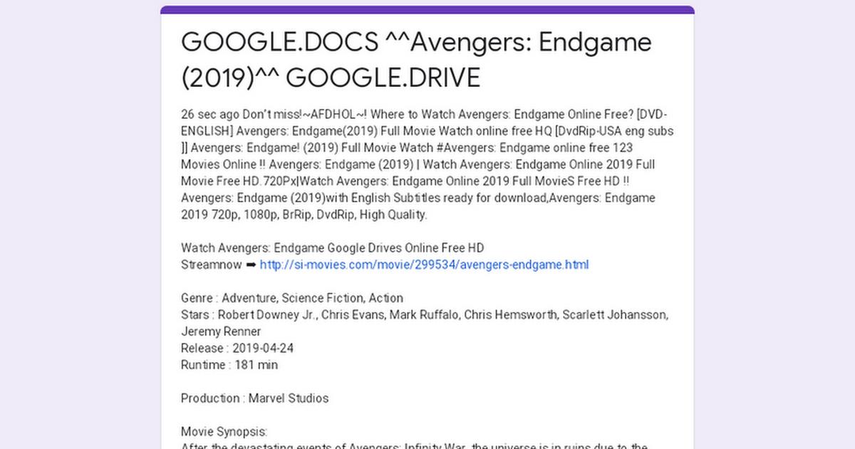 GOOGLE.DOCS ^^Avengers: Endgame (2019)^^ GOOGLE.DRIVE