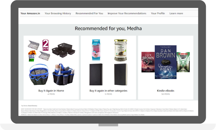 product recommendations based on previous search and purchase history