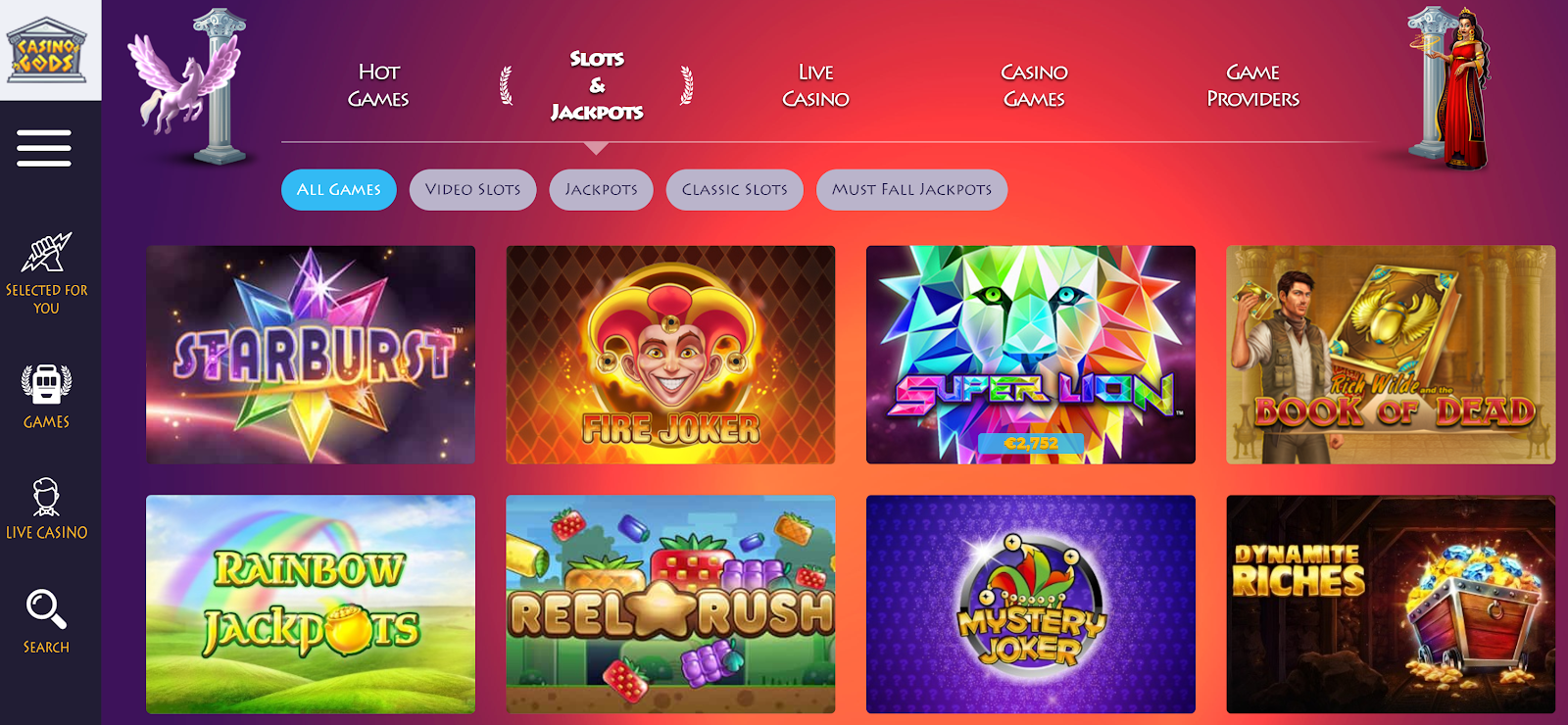 Casino Gods has loads of excellent slots games you can play