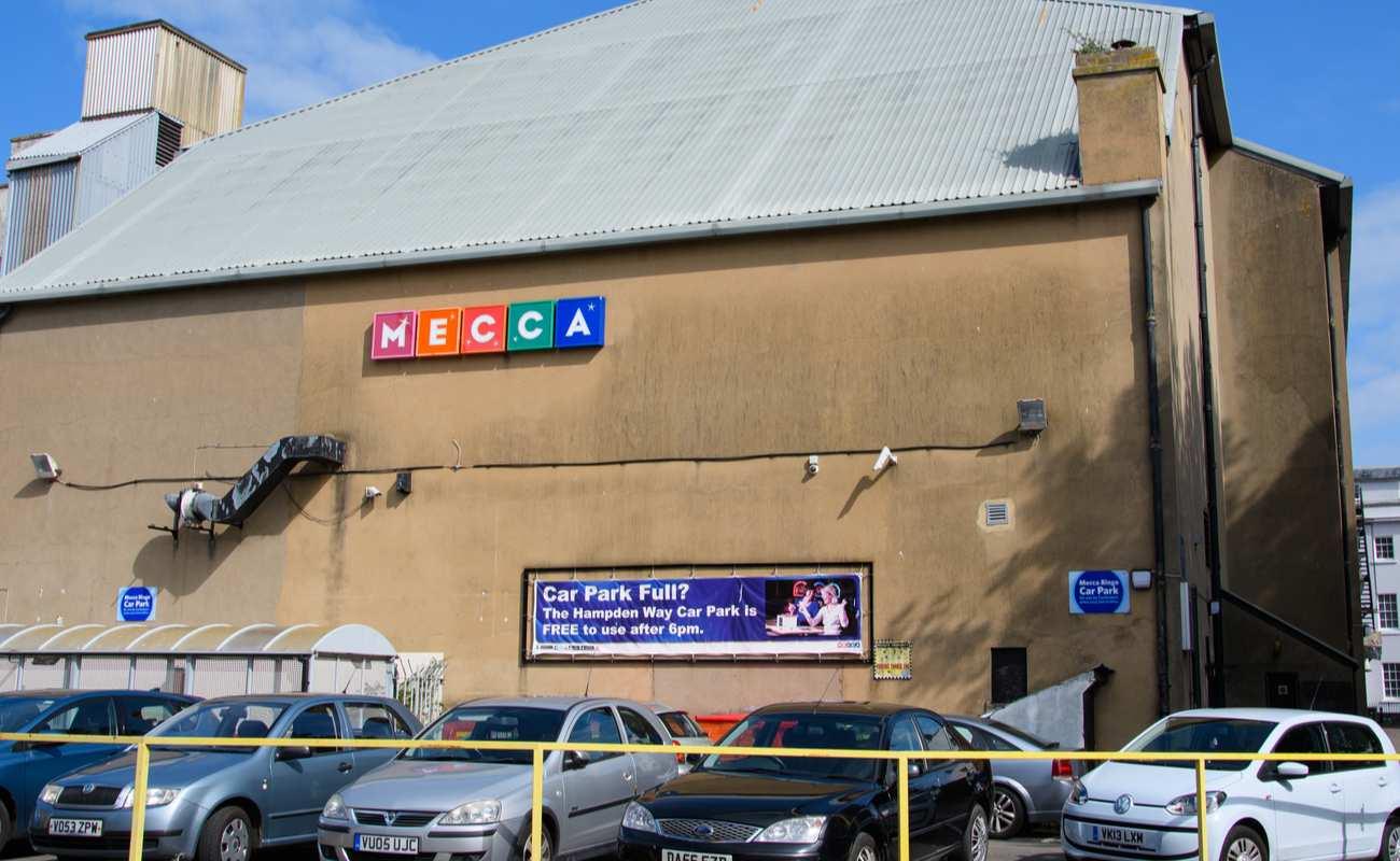Outside of a Mecca bingo hall